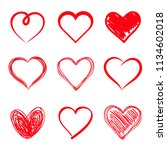 set of hand drawn hearts.... | Shutterstock .eps vector #1134602018