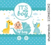 it's a boy  baby shower card.... | Shutterstock .eps vector #1134602342