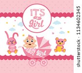 it's a girl  baby shower card.... | Shutterstock .eps vector #1134602345