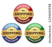three golden worldwide shipping ... | Shutterstock .eps vector #1134604358