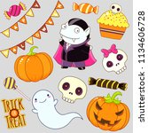 set of cute halloween... | Shutterstock .eps vector #1134606728