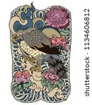 eagle flying tattoo.traditional ... | Shutterstock .eps vector #1134606812