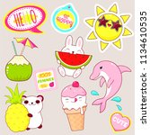set of cute icons in kawaii... | Shutterstock .eps vector #1134610535