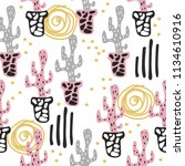 seamless pattern with cute... | Shutterstock . vector #1134610916