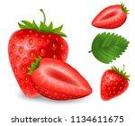 set of fresh ripe strawberry.... | Shutterstock .eps vector #1134611675