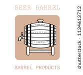 wooden barrel for beer  water... | Shutterstock .eps vector #1134613712