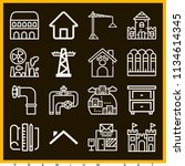 set of 16 buildings outline... | Shutterstock . vector #1134614345