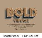 vector bold vintage maze font.... | Shutterstock .eps vector #1134621725