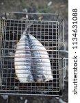 mackerel on a brazier | Shutterstock . vector #1134631088
