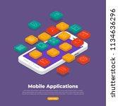 flat design concept of mobile... | Shutterstock .eps vector #1134636296