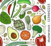 vector big set of vegetables in ... | Shutterstock .eps vector #1134642215