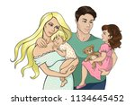 colorful happy family sketch   Shutterstock .eps vector #1134645452