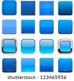 Set Of Blank Blue Square...