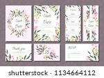 floral wedding invitation with... | Shutterstock .eps vector #1134664112