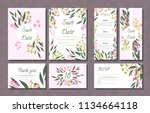 floral wedding invitation with... | Shutterstock .eps vector #1134664118
