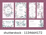 wedding card templates set with ... | Shutterstock .eps vector #1134664172