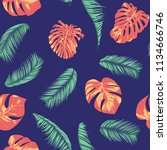 summer exotic floral tropical... | Shutterstock .eps vector #1134666746