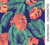 summer exotic floral tropical... | Shutterstock .eps vector #1134666752