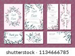 wedding card templates set with ... | Shutterstock .eps vector #1134666785
