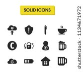 interface icons set with glass  ...