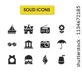 sunny icons set with woman with ...