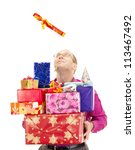 A business person catching a gift - stock photo