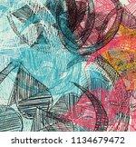 contemporary art. hand made art.... | Shutterstock . vector #1134679472