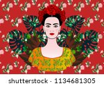 portrait of the young beautiful ... | Shutterstock .eps vector #1134681305
