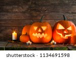 halloween pumpkin head jack... | Shutterstock . vector #1134691598