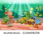 underwater treasure  chest at... | Shutterstock .eps vector #1134698258