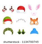 new year's masks for photos.... | Shutterstock .eps vector #1134700745