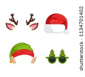 new year's masks for photos.... | Shutterstock .eps vector #1134701402