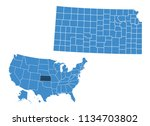 map of kansas state | Shutterstock .eps vector #1134703802