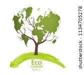 green globe on the tree. tree... | Shutterstock .eps vector #1134705278