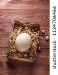 big ostrich egg on straw... | Shutterstock . vector #1134706466