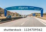 road sign marking the border... | Shutterstock . vector #1134709562