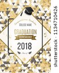 graduation ceremony design with ... | Shutterstock .eps vector #1134710426