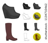 a variety of shoes cartoon... | Shutterstock .eps vector #1134710462