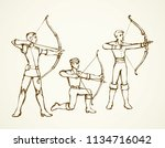 antique athletic power shooter... | Shutterstock .eps vector #1134716042