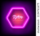 glowing neon frame on colorful... | Shutterstock .eps vector #1134761675