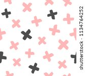 repeated crosses painted with... | Shutterstock .eps vector #1134764252