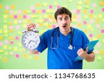 young doctor with many... | Shutterstock . vector #1134768635