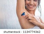 smiling girl taking care of... | Shutterstock . vector #1134774362