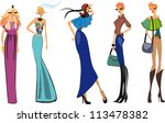 fashion shopping girls... | Shutterstock .eps vector #113478382
