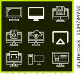 set of 9 screen outline icons... | Shutterstock . vector #1134784952