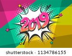 2019 happy new year christmas... | Shutterstock .eps vector #1134786155