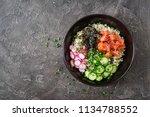 hawaiian salmon fish poke bowl... | Shutterstock . vector #1134788552