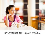 beautiful young woman resting... | Shutterstock . vector #113479162