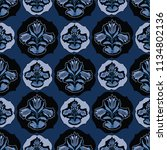 blue folklore floral  seamless... | Shutterstock .eps vector #1134802136