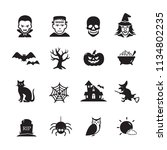 halloween icons  vector... | Shutterstock .eps vector #1134802235